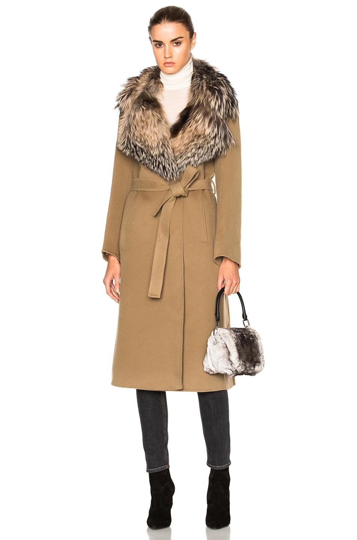 Yves Salomon Fox Fur Collar Cashmere Coat in Neutrals