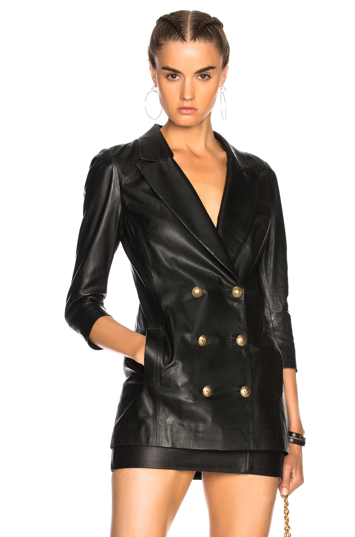 Zeynep Arcay Leather Blazer in Black