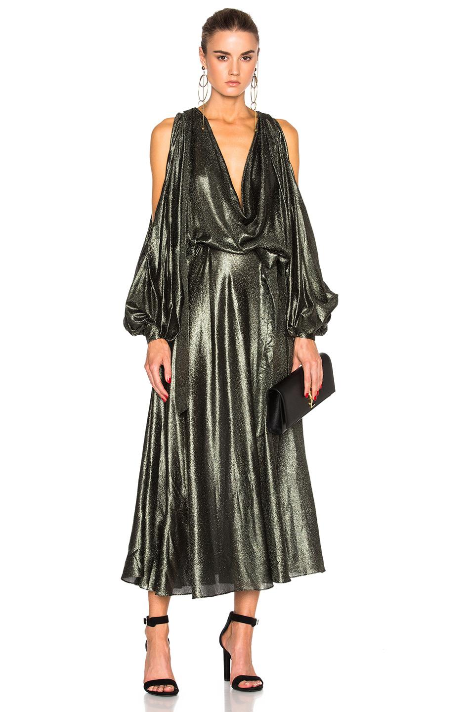 Zimmermann Karmic Metallic Billow Dress in Green,Metallics