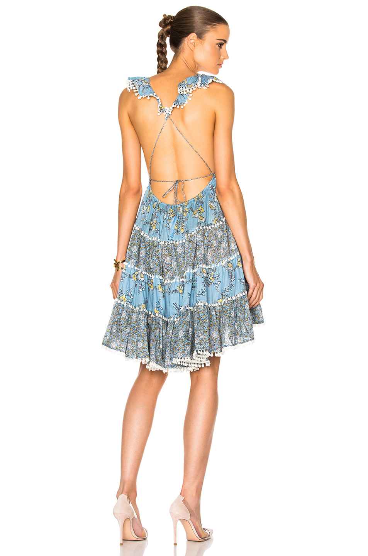 Zimmermann Caravan Tiered Sun Dress in Blue,Floral
