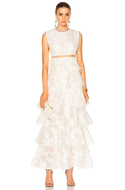 Zimmermann Winsome Tier Vine Dress in White,Floral
