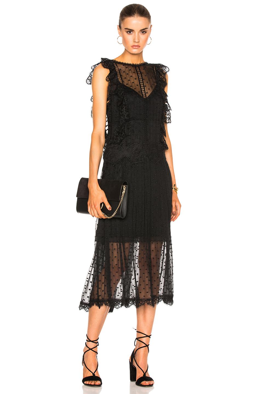 Zimmermann Oleander Lattice Back Dress in Black