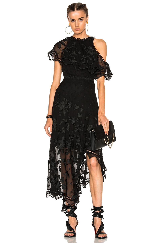 Zimmermann Mercer Bird Floating Dress in Black