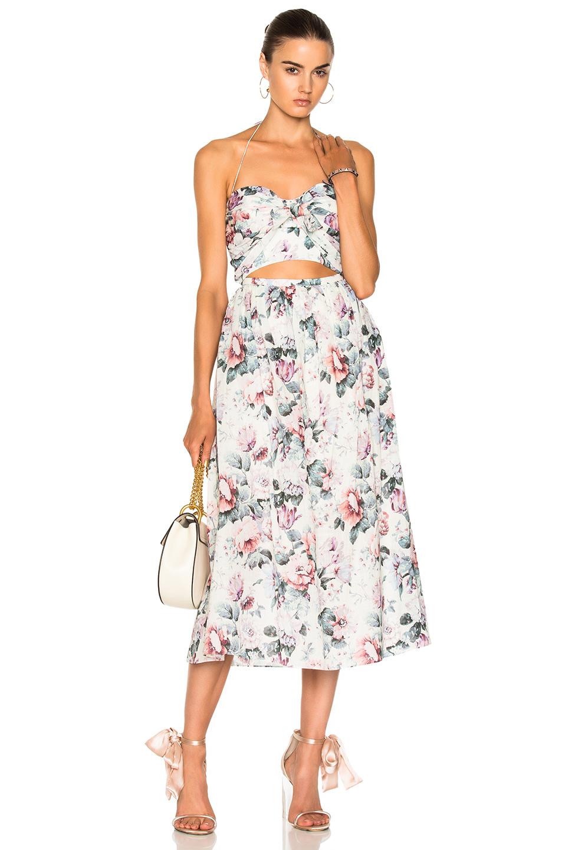 Zimmermann Jasper Tie Dress in Floral,Neutrals,Pink