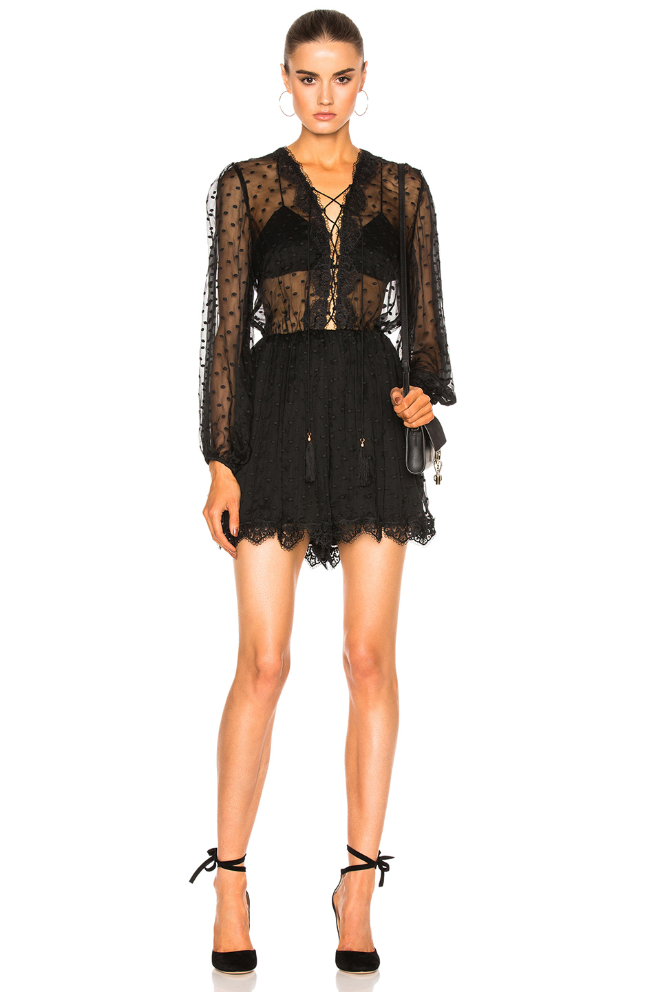 Zimmermann Oleander Lattice Romper in Black