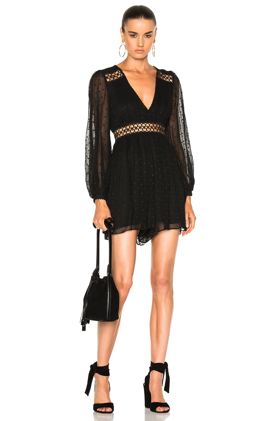 Zimmermann for FWRD Bowerbird Empire Playsuit Romper in Black