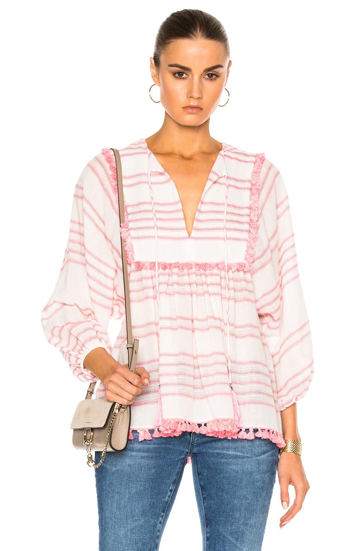 Zimmermann Valour Tassel Top in Pink,Stripes,White
