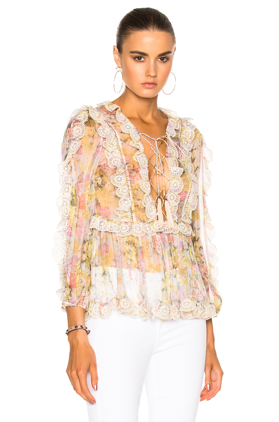 Zimmermann Valour Scallop Ruffle Top in Floral,Pink