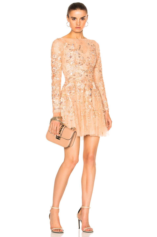 Zuhair Murad Long Sleeve Mini Dress in Pink