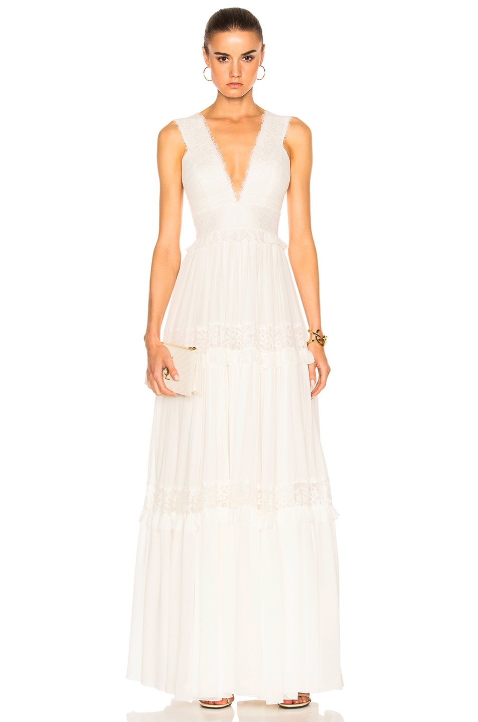 Zuhair Murad Georgette & Lace Gown in White