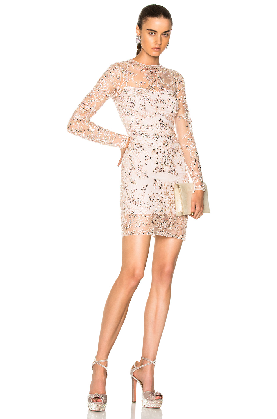 Zuhair Murad Beaded Mini Dress in Pink