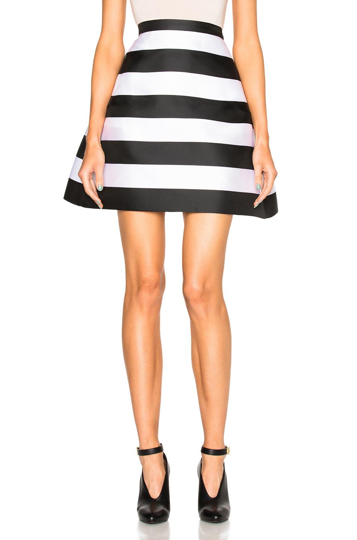 Zuhair Murad Stripe Scuba Skirt in Black,White,Stripes