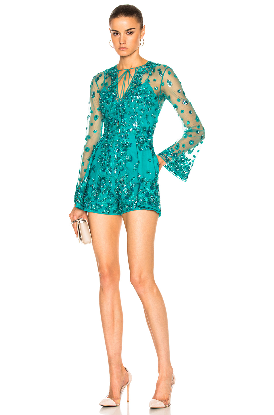 Zuhair Murad Short Embroidered Tulle Jumpsuit in Green