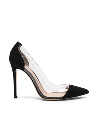 Gianvito Rossi Suede Plexi Pumps in Black