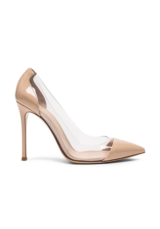 Gianvito Rossi Patent Leather Plexi Pumps in Nude