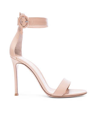 Gianvito Rossi Leather Portofino Heels in Nude
