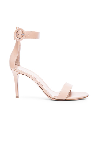 Gianvito Rossi Leather Ankle Strap Heels in Nude