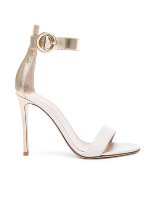 Gianvito Rossi Leather Portofino Heels in Mekong & Off White