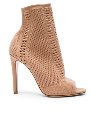 Gianvito Rossi Knit Vires Booties in Praline
