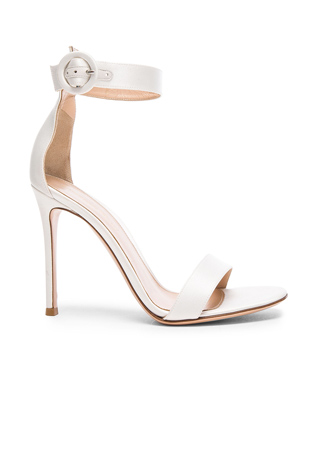 Gianvito Rossi Satin Portofino 85 Heels in Off White