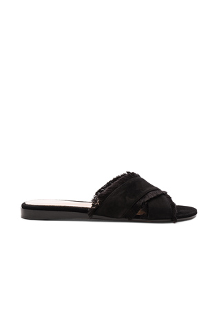 Gianvito Rossi Suede & Satin Flat Sandals in Black