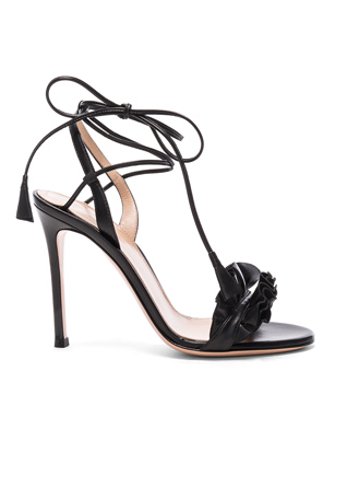 Gianvito Rossi Leather Ruffle Heels in Black