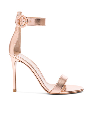 Gianvito Rossi Metallic Leather Ankle Strap Heels in Praline