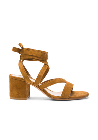 Gianvito Rossi Suede Janis Low Sandals in Almond