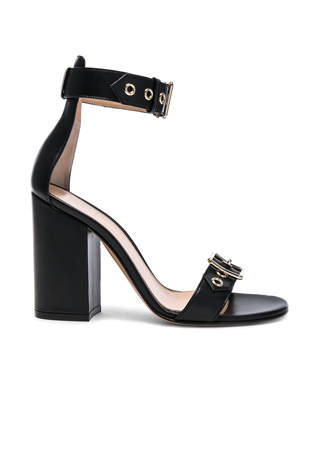 Gianvito Rossi Leather Buckle Detail Heels in Black