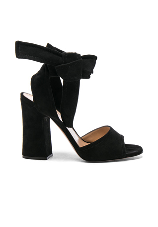 Gianvito Rossi Suede Ankle Tie Heels in Black