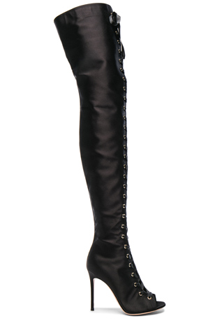 Gianvito Rossi Satin Marie Lace Up Boots in Black