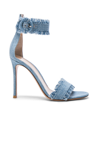 Gianvito Rossi Denim Lola Heels in Stonewash