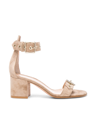 Gianvito Rossi Suede Buckle Detail Sandals in Bisque