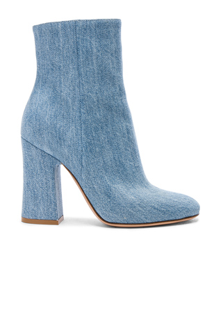 Gianvito Rossi Denim Shelly Booties in Stonewash