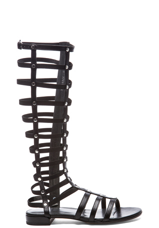 Stuart Weitzman Nappa Leather Gladiator Sandals in Black