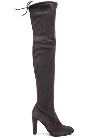 Stuart Weitzman Highland Suede Boots in Grey Suede