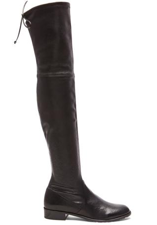 Stuart Weitzman Stretch Leather & Neoprene Lowland Boots in Nero