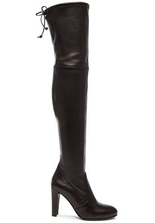 Stuart Weitzman Stretch Leather Highland Boots in Nero