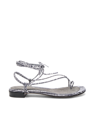 Stuart Weitzman Leather Nieta Sandals in Black & White