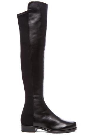 Stuart Weitzman 50/50 Leather & Neoprene Boots in Black