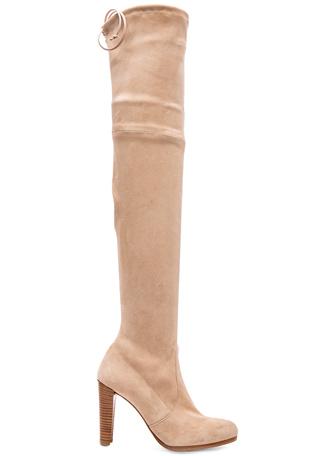 Stuart Weitzman Highland Suede Boots in Buff Suede