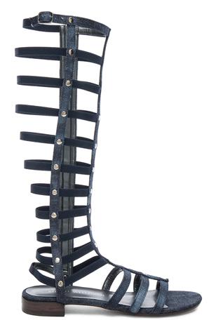 Stuart Weitzman Denim Gladiator Sandals in Navy