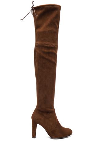 Stuart Weitzman Suede Highland Boots in Nutmeg