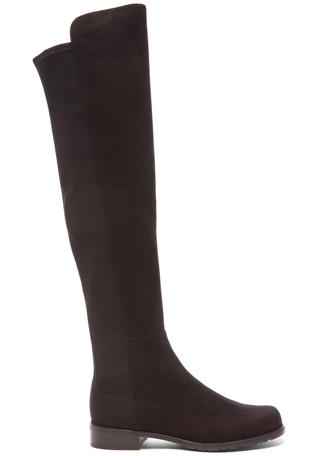 Stuart Weitzman 50/50 Suede & Neoprene Boots in Black