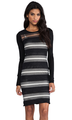 DEREK LAM 10 CROSBY Sheer Stripe Long Sleeve Dress in Black