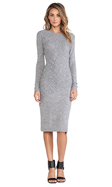 DEREK LAM 10 CROSBY Long Sleeve Ruched Dress in Grey Melange