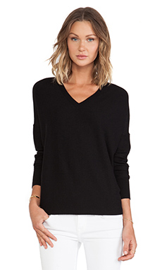 DEREK LAM 10 CROSBY Oversized V-Neck in Black
