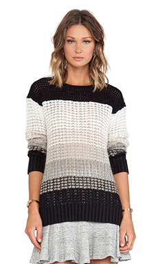 10 CROSBY DEREK LAM Long Sleeve Crew Neck Sweater in Cream Multi