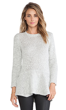 10 CROSBY DEREK LAM Peplum Sweater in Grey Melange