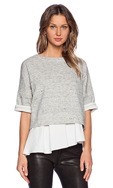 DEREK LAM 10 CROSBY Short Sleeve Sweatshirt in Grey & White